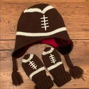Infant Football Hat and Mittens